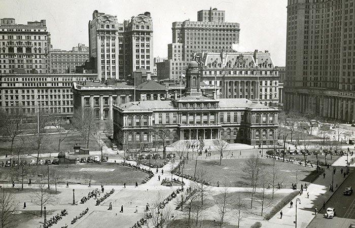 Ayuntamiento de Nueva York y Parque del Ayuntamiento en 1948