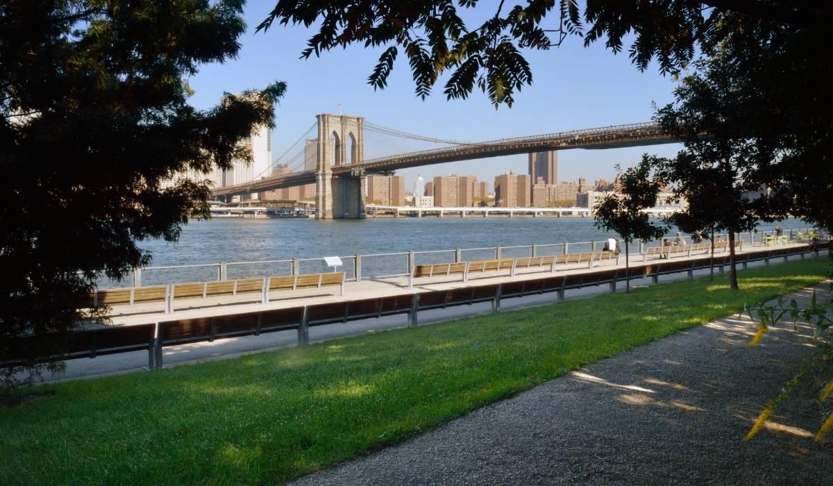 Se observa el puente de Brooklyn desde elBrooklyn Bridge Park