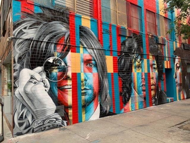 "Graffitis de Nueva York: ""Club 27"" que reúne retratos de varios artistas como Kurt Cobain, Jim Morrison, Jimmy Hendrix o Amy Winehouse."