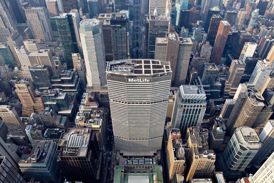 Vista aérea del edificio MetLife, de 246 metros de altura.