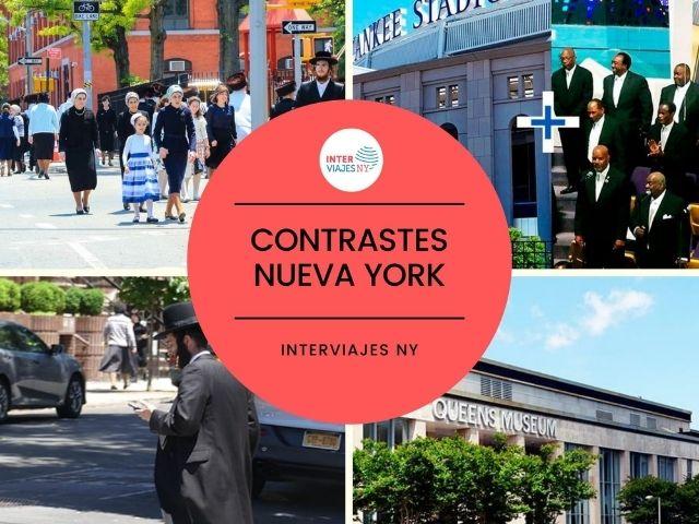 Se observa un collage de fotografías de sitios turísticos de New York como Queens, Brooklyn, Harlem o El bronx