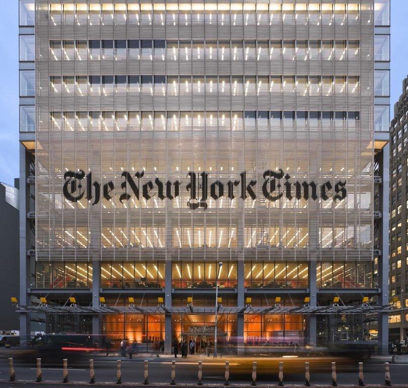 Fachada de el edificio The New York Times
