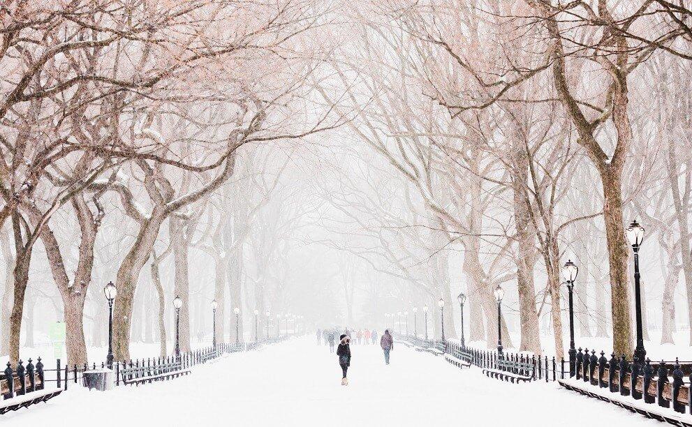 Ejemplo del Tiempo en Nueva York: Invierno, donde es costumbre que caigan grandes nevadas.